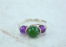 Sterling Silver Nephrite Jade and Amethyst Bead Ring