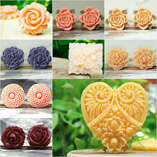 Free Ship Flatback Flower Heart Round Square Cameo Resin Cabochons Color Choose