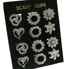GORGEOUS SILVER COLOURED SCARF CLIPS WITH CRYSTAL DETAIL ASSORTED DESIGNS