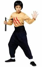 Boys Child Deluxe Muscle Chest Kung Fu Master Karate Ninja Costume W/ Wig