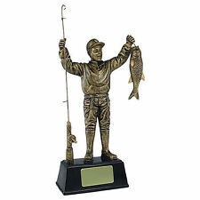Personalised 23cm Antique Gold Fisherman Fishing Angling Trophy Award Engraved