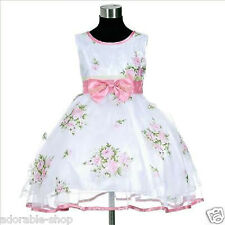 P573 Pinks Christmas Wedding Party Prom Flower Girls Dress SIZE 2,3,4,5,6,7,8,9Y