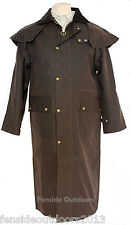 LONG WAX  WAXED STOCKMANS RIDING COAT JACKET ANTIQUE BROWN ALL SIZES WATERPROOF