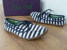 BLOWFISH MAKARY STRIPE NAVY BLUE WHITE FABRIC LACE UP PUMP CASUAL FLAT SHOE £35
