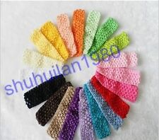 "Wholesale Lot 10 Pcs 30 Colors 1.5 "" Crochet Stretch Baby Girls Headbands"