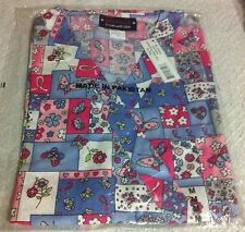 Breast Cancer Print Scrub Top Asian Floral & Ribbons by Melrose May-Hill Scrubs