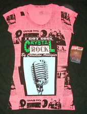 ED HARDY Soul CRYSTAL ROCK Christian Audigier SEQUIN PINK T-SHIRT Microphone