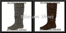 BROWN GREY KNEE HIGH WOMEN SLOUCHY PULL ON ROUND TOE FASHION FLAT BOOTS 5.5-10