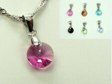925 STERLING SILVER Chain Made with Swarovski Crystal NECKLACE ~RIVOLI/ FLOWER~