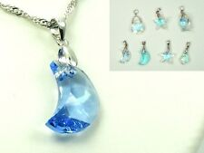 925 Sterling Silver CHAIN Made with Swarovski Crystal NECKLACE STAR/ Moon/ Ring
