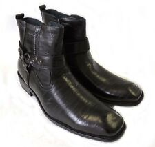 NEW MENS STYLISH ANKLE BOOTS LEATHER ZIPPERED  BUCKLE STRAPS DRESS SHOES / BLACK