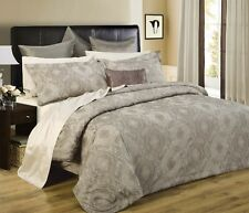 3pc Taupe Paisley Design 300TC Cotton Sateen Duvet Set Queen King