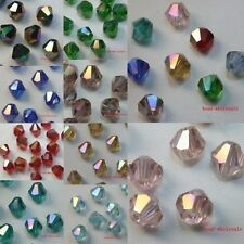 Sell 10pcs Faceted Bicone Glass Crystal Spacer Beads 4*3mm AB 9 Colors to pick