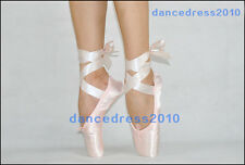 NEW Ladies Professional Satin Ballet Dance Toe Pointe Shoes with Ribbon All Size