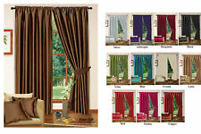 Plain Ready Made Faux Silk Fully Lined Tape Top Curtains -10 Colours & Tiebacks
