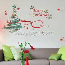 Christmas Tree Holiday Decoration Wall Instant Decals Removable Stickers #117
