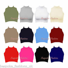 Ladies Women's Short Cropped Sleeveless Turtle Polo Neck Vest Top Tee Shirt 8-14