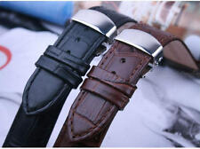 NEW Genuine Leather Watch BAND Strap folding butterfly clasp brown black 12-26mm