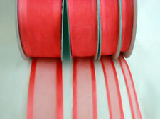 25 Yd Roll of  Coral Satin Edge Organza Ribbon 10mm, 15mm, 25mm and 38mm