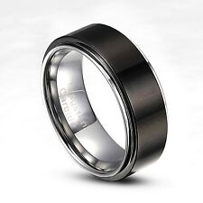 Tungsten Carbide 8mm Black Striped wedding Band Ring Size 8-14 Half Size TG018