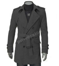 Free Shipping Men's UK Style High Quanlity Stylish Woolen Trench Coat Windcoats
