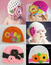 Cute Fashion Crochet Handmade Flower Knit Kufi Beanie Hat Cap Baby girl gift New