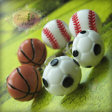 Super Cute Sports Football Baseball Basketball Stud Earrings. Retro and Kitsch