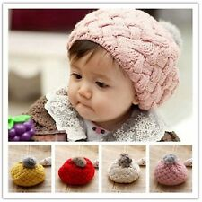 Fashion Baby Girl Toddler Kid Winter Warm Knitted Crochet Beanie Hat Cap 4 color