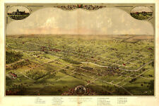 1866 Birds Eye View Map City Lansing Michigan New Capitol Poster Repro FREE S/H