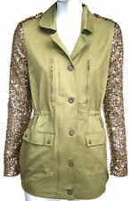 womens/ladies khaki military jacket with sequin sleeves size 10,12,14