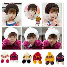 Baby Boys Girls children Kit Crochet knit Winter warm earmuffs Beanie Hat Cap