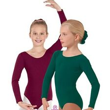 Eurotard 10408 long sleeved leotard scoop neck dance gymnastics cotton girls new