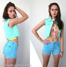 [SALE] PASTEL MINT CROPPED DENIM WAISTCOAT VEST TOP 6 8 10 12