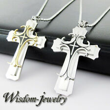 Men's Fashion Silver Stainless Steel Cross Charm Pendant Necklace Item ID:W3354