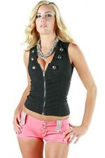 AFTERPINK NEW Button Down Vest Style Front Zip Back Crossed WOMEN TOP CLUBWEAR