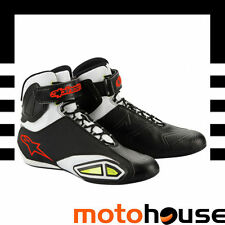 ALPINESTARS MENS FASTLANE BOOTS MOTORCYCLE SHOES BLACK WHITE RED YELLOW HI-VIZ