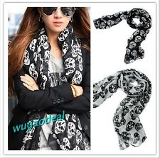 Girls Women's Big Skull Head Skeleton Soft Long Shawl Scarf  Wrap Stole 80*180CM