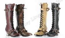 Vintage - Alternative Footwear by Hades - Mid-Calf Lace-Up & Bluckles Boot