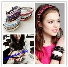 Stylish Colorful  Lady Girl Leather Spike Rivet Studded Punk Headband 16 Colors
