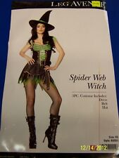 3 pc. Spider Web Witch Wicked Black Green Dress Up Halloween Sexy Adult Costume