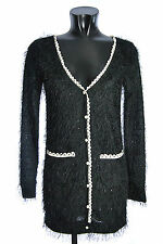 YUMI Women's Cardigan K1566 B STRINGY Black Long Sweater Pullover Tunic Blouse