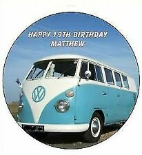 VW Campervan blue Personalised Icing Birthday Cake Topper party decoration