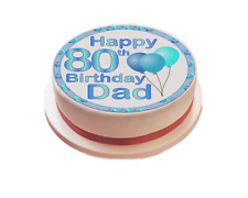 Blue Happy Birthday Balloon Personalised Icing Cake Topper boy man Decoration