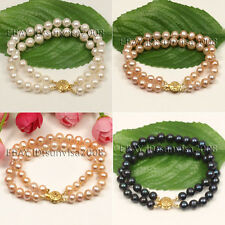 S103 2 rows AA 7-8mm white pink black freshwater cultured round pearl bracelets