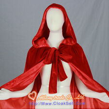 New Velvet Red Hooded Cloak Wedding Cape Wicca Cloak SCA Free Shipping Halloween