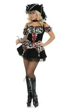 7 Seas Pirate Lady Caribbean Wench Black Dress Up Halloween Sexy Adult Costume