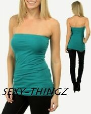 SEXY DK TEAL STRAPLESS Tube BANDEAU Built In BRA TOP~XS/S/M/L~Free U.S.Shipping!