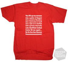 Sheffield United Football Song Greasy Chip Butty Lyrics T Shirt - All Sizes