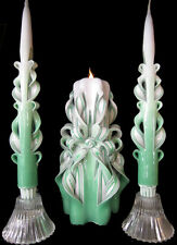 100% Custom design wedding unity candles white, green, dark, silver, ivory, gold