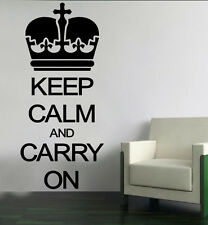 KEEP CALM CARRY ON wall art sticker quote decor CROWN